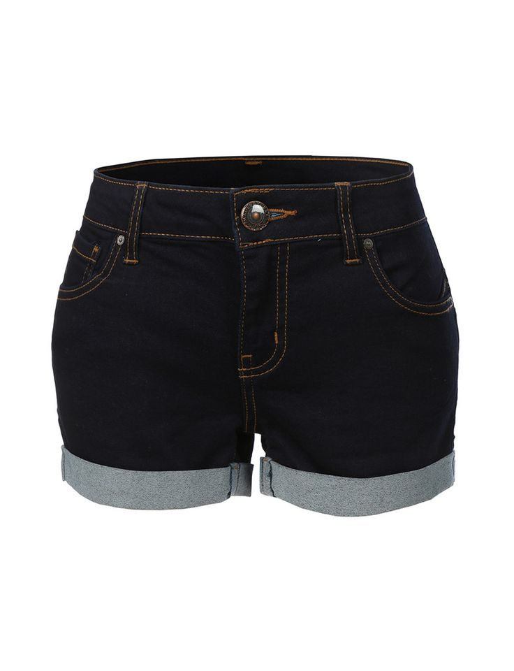LE3NO Womens Stretchy Push Up Denim Jean Shorts with Pockets