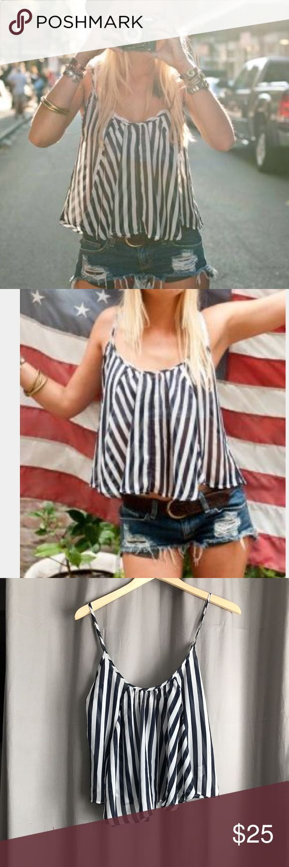 Show Me Your Mumu • Sailor Stripe Tank Show me your mumu navy and white sailor stripe chiffon tank. Size small. Only flaw is a run in the fabric (she last photo) located on the front but due to the shape and design it is not very noticeable Show Me Your MuMu Tops Tank Tops