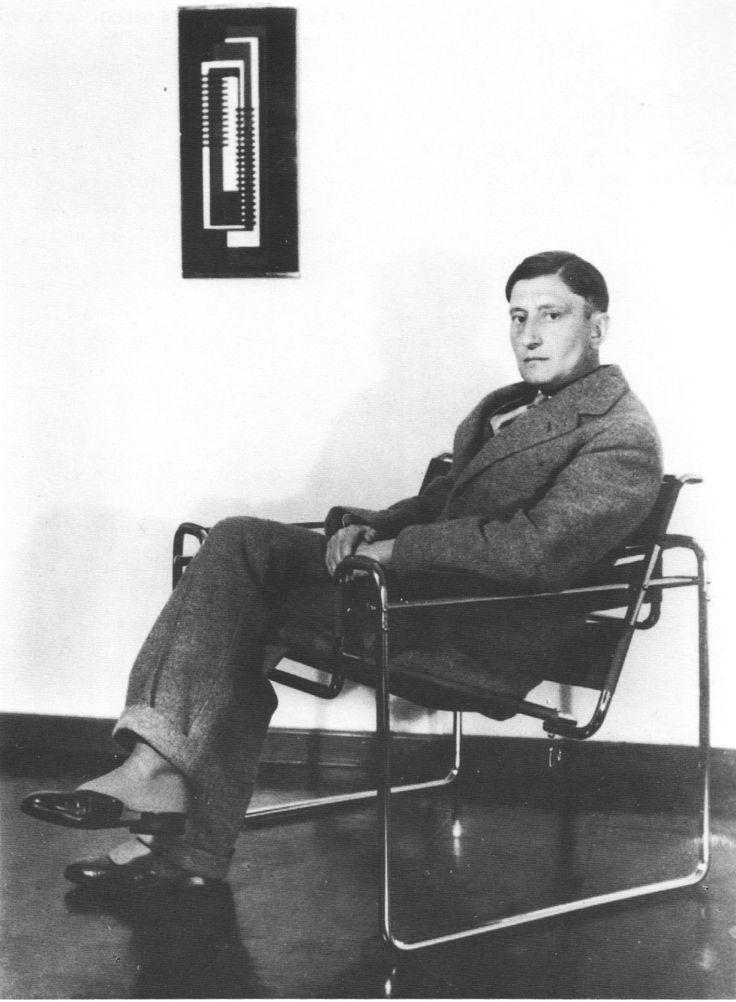 Artist josef albers > sitting in. Wassily chair, Marcel Breuer
