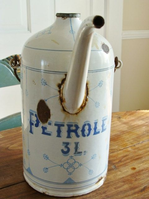 Rare French Antique Enamelware Petroleum Can by QuelJoliReve, $95.00