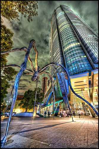 Mori Tower with giant spider by louis bourgeois in front, roppongi, Tokyo, Japan, art museum at the top offers great view over Tokyo
