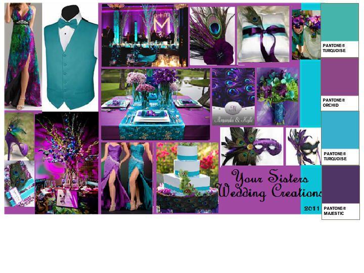 Purple Peacock PANTONE WEDDING Styleboard The Dessy Group