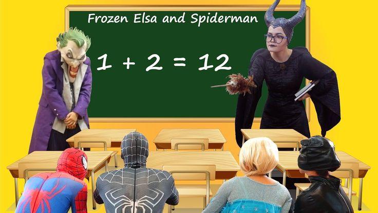Frozen Elsa & Spiderman GO TO SCHOOL! w/ Maleficent Teacher Joker Fun Su...