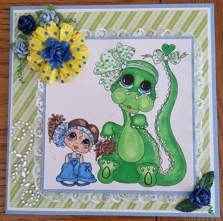 Sherri Baldy stamp, dinosaur, best friends card