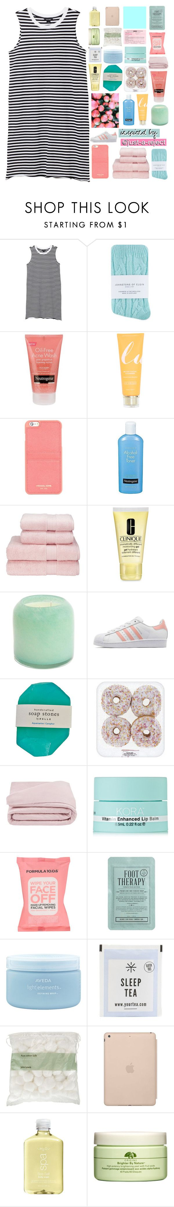 """""""DAMN YOU LOOK SO GOOD WITH YOUR CLOTHES ON"""" by nothing-like-outerspace ❤ liked on Polyvore featuring Monki, Johnstons, Neutrogena, Michael Kors, Christy, Clinique, Alassis, adidas Originals, Frette and KORA Organics by Miranda Kerr"""
