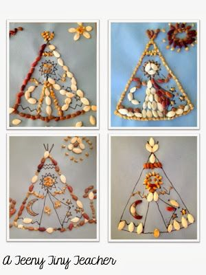 Teepee Design with corn, beans, and pumpkin seeds