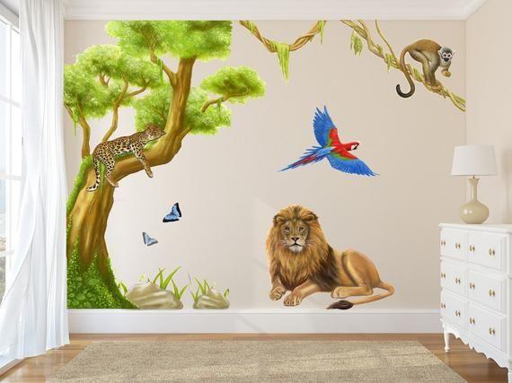 Jungle Wall Decals Jungle Wall Stickers Jungle Decals Nursery