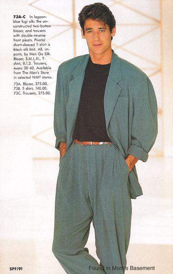 Men's fashion from the 1991 Spring Neiman Marcus catalog . An classic gentleman in 1990s . His suit was so wide and comfortable