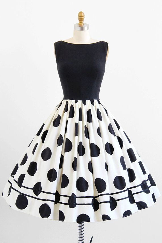 vintage 1950s black + white polkadots party dress | polkadot rockabilly dresses | http://www.rococovintage.com