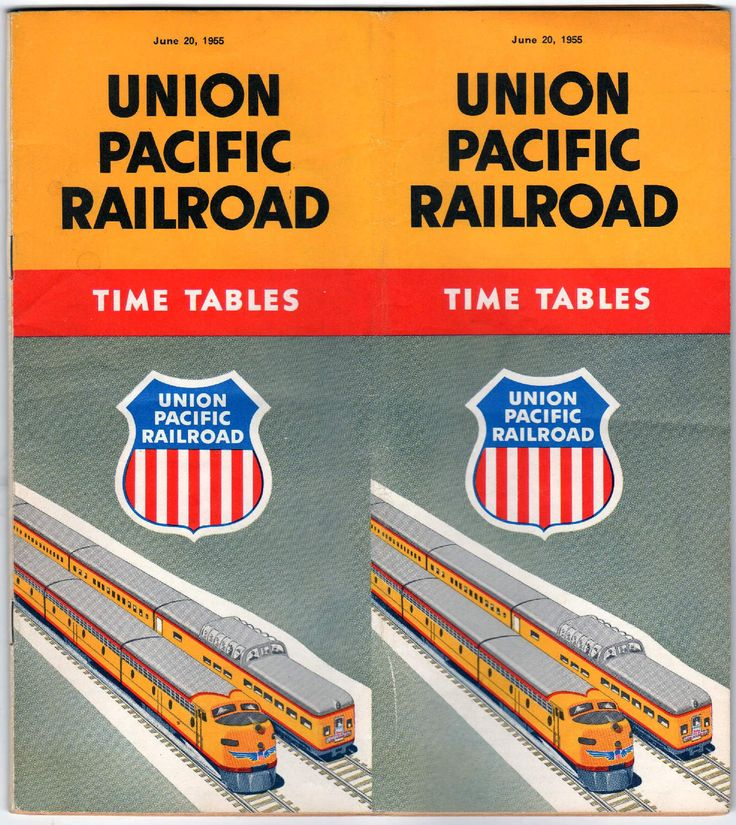 Union Pacific Railroad Vintage Graphic Illustrated Railway Timetable 1955
