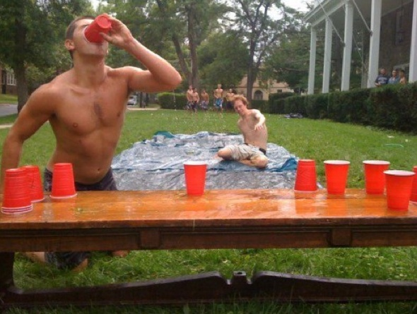 Slip and slide and beer pong -- even though I don't play beer pong. I'd sit and watch this! LOL