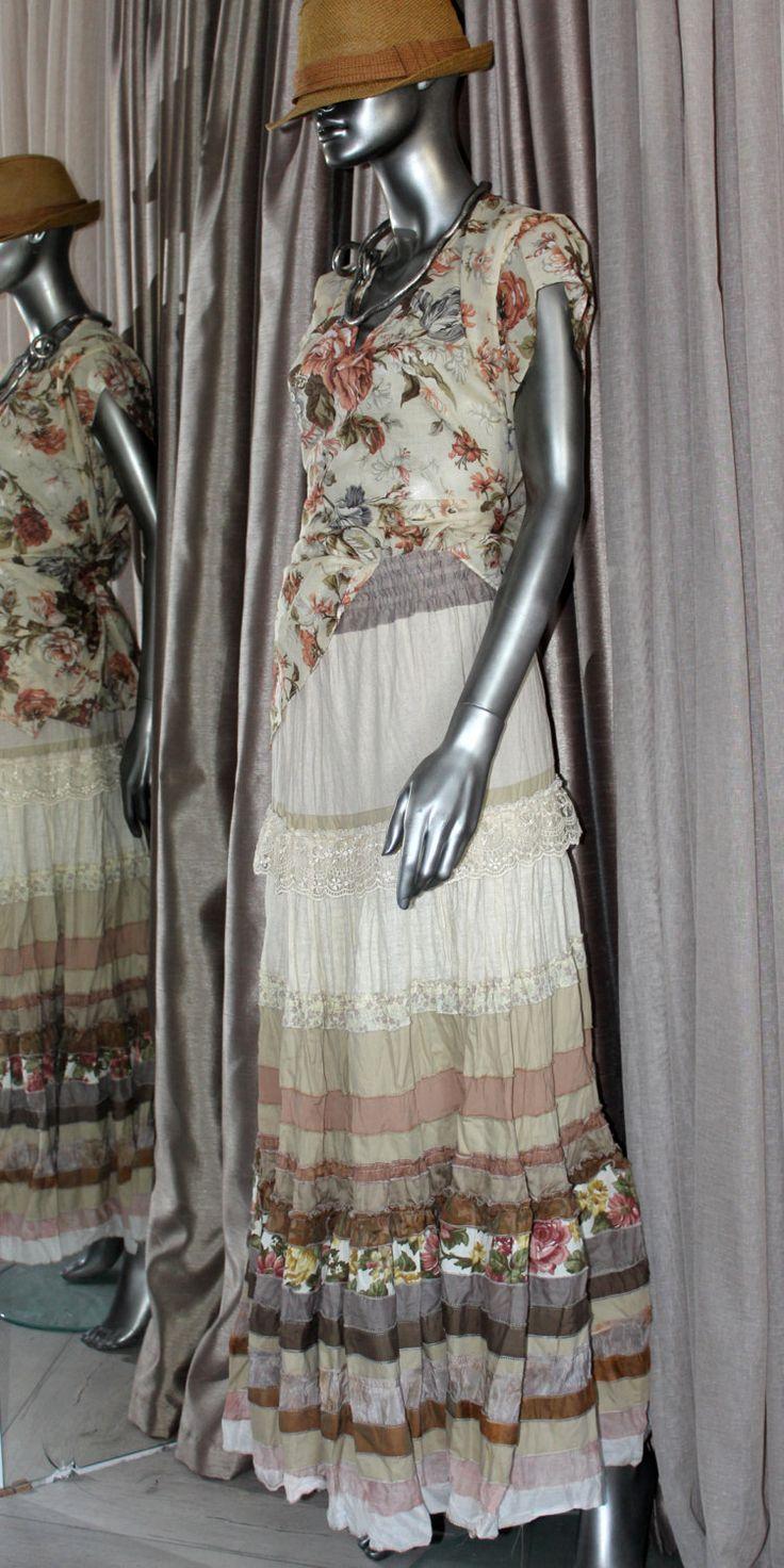 Многоярусная длинная кремово-бежевая юбка в стиле бохо. by AllaSilk on Etsy