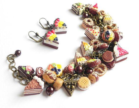 Sweet cha cha charm bracelet and earrings Polymer by PommeDeNeige