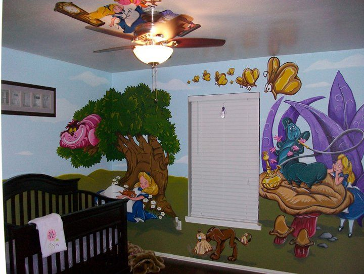 17 best images about disney room on pinterest sleeping for Alice in wonderland mural