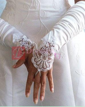 Half sleeve satin beaded wedding glove