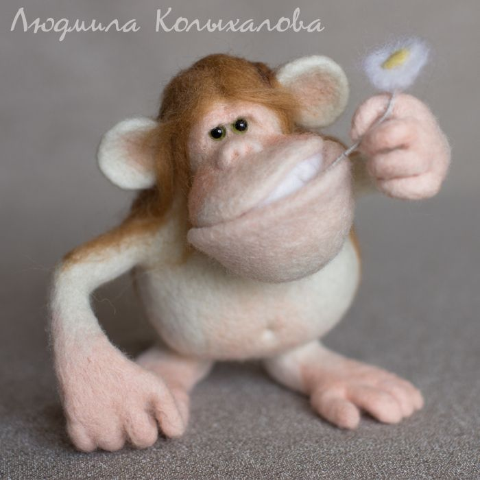 Гоша - бежевый,обезьяна,обезьянка,животные из фетра,Валяние,валяная игрушка