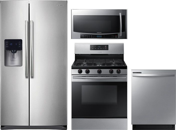 Samsung 4 Piece Kitchen Appliances Package With Side By Side