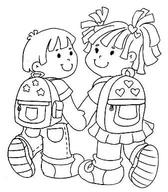 little boy and girl going to school - coloring page