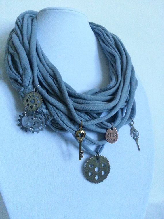 Steampunk Upcycled TShirt Scarf Necklace  by HamiltonianDesigns, $25.00