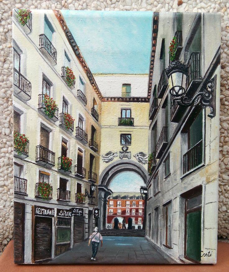 Calle 11 de Julio, uno de los arcos de la Plaza Mayor (Madrid). Óleo sobre lienzo 27x22.