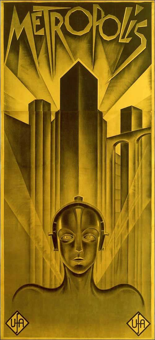 Awesome poster from Fritz Lang's ground breaking robot fantasy film: Metropolis.