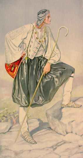 Βοσκός από την Σκύρο, Σποράδες - Shepherd  from Skyros, Sporades Islands. Chatzimichali Angeliki, Ελληνικαί Εθνικαί Ενδυμασίαι (Greek National Costumes). Athens: Benaki Museum, 1948