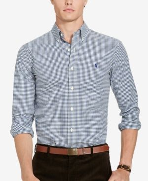 Polo Ralph Lauren Men's Slim-Fit Tattersall Shirt - Green/Blue XXL