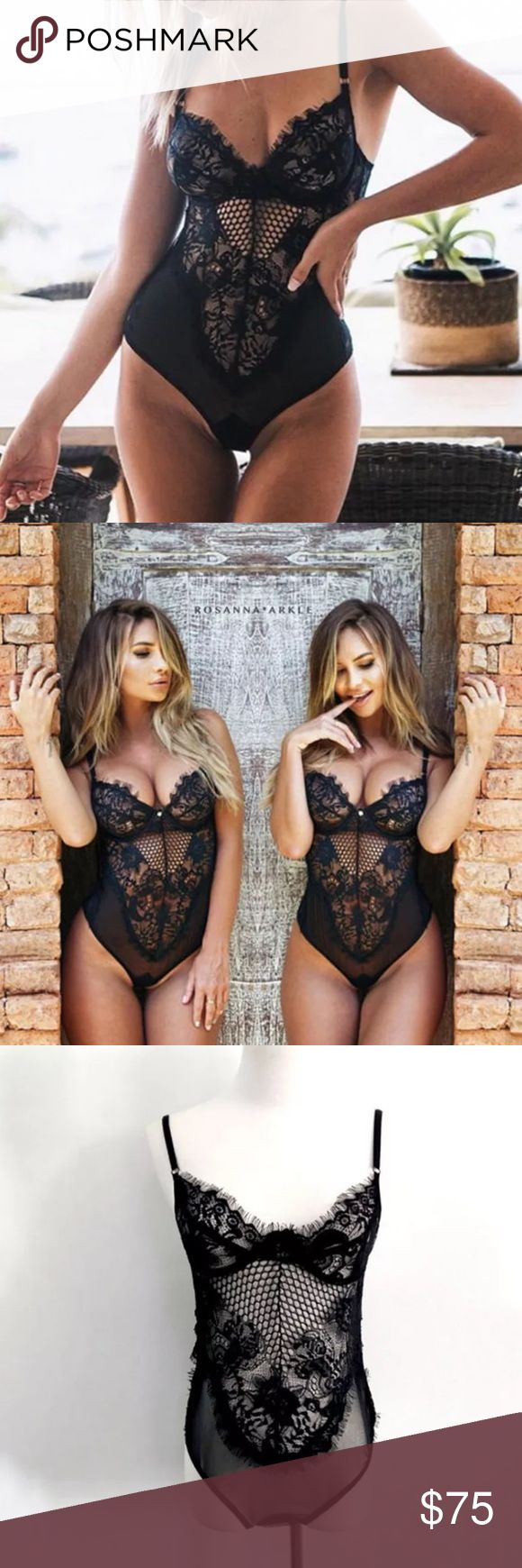 """NWT💕Lacey Black Bodysuit Teddy💕Lingerie💕 Sexy New black lace stretchy body suit. Sexy on its own or underneath a pair of jeans + jacket.                      🎀Small-  bust 30-32"""", waist <27, hips <35""""         🎀Med- Bust 32-34"""", waist 28-29"""", hips 35-37"""" 🎀Large- B 34-37"""", W 28-30"""", H 37-39"""".             🎀XLarge- B 37-340"""", W 30-33"""", H 39-42"""".                      Sorry 🚫trades. Cheaper with bundling. Pls ensure sizing is your fit, return not accepted🙅on these items. Intimates…"""