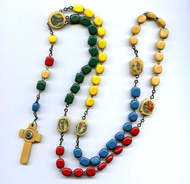 "Vtg Colorful Wood 18-3/4"" Rosary Lady Of Guadalupe Stanhope Crucifix"