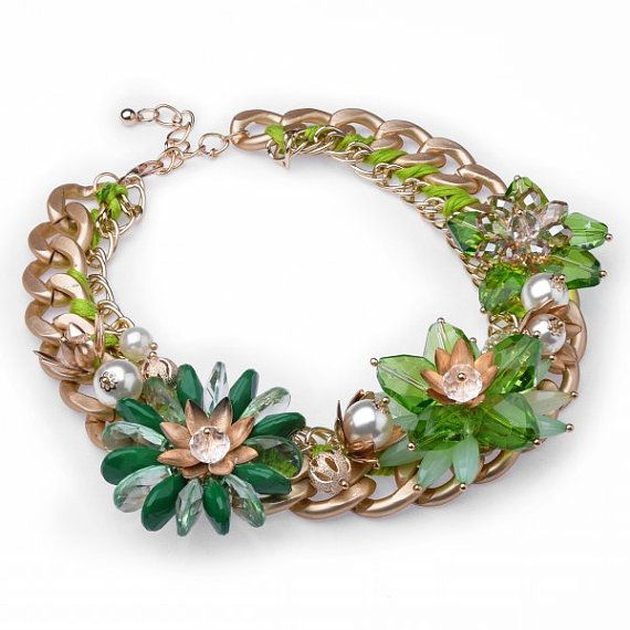FJ Vintage Gold Fashion Chain Green Flower by Glamorosajewelry