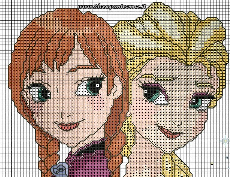 Anna & Elsa frozen cross stitch 4-6