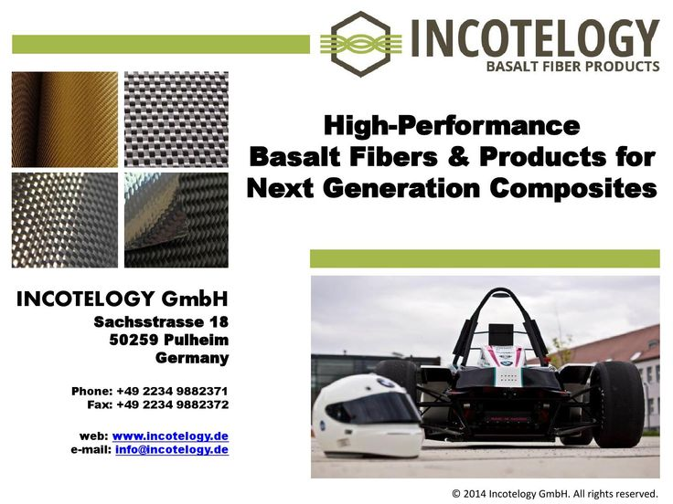 High performance basalt fibers & products for next gerneration composites  New innovative solutions for composites industry as an alternative to glass and carbon fibers. An overview of basalt fiber properties, applications, tendencies and future developments...