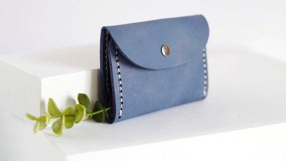 Bleke blauwe lederen portemonnee Unisex portemonnee door creamcaroll