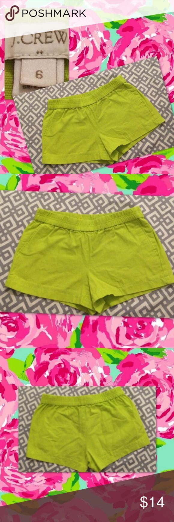 J. Crew, 6 neon green shorts w pockets Neon green shorts w/ pockets and stretch waistband J. Crew Shorts