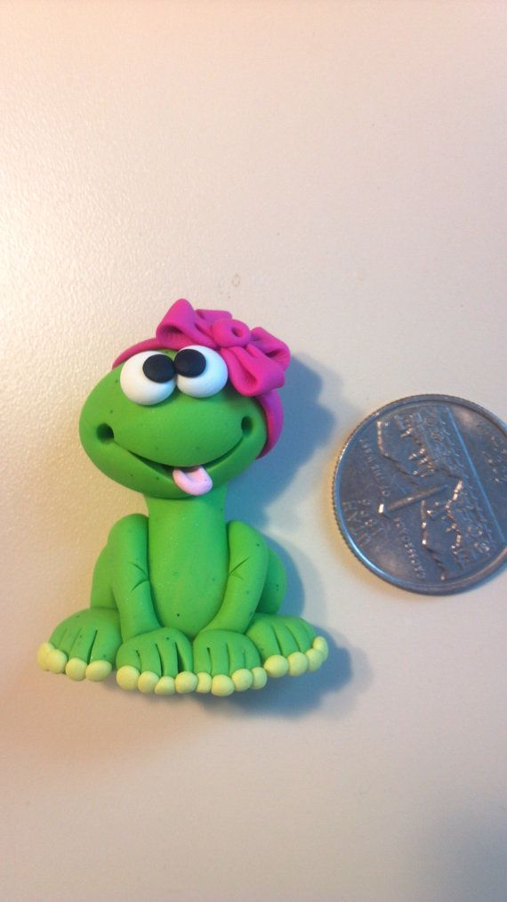OOAK - FROG GIRL -  Polymer Clay Bow Center