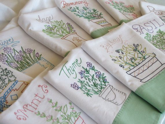 10 Herb Tea Towel - Stitches Bring Hope / A co-operative of Bengali and American women offering hand stitched linens, tea towels and other items. The women in Bangladesh, many of whom have lost their husbands, needed a way to provide for their children. Learning to do this hand stitching has met this need.
