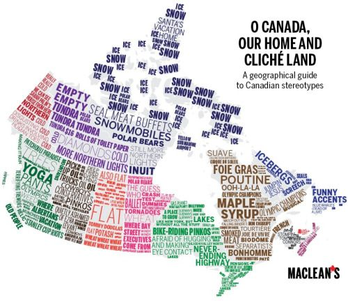 Regional Canadian Stereotypes. Map created by Macl…