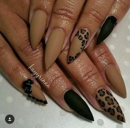 60 ideas nails acrylic brown skin nails  leopard print