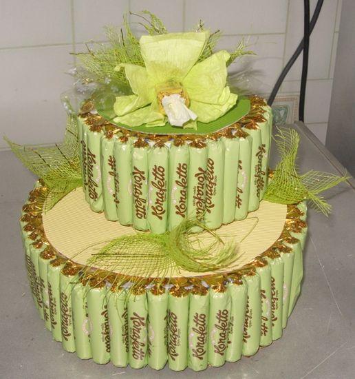 Торт из конфет и фруктов