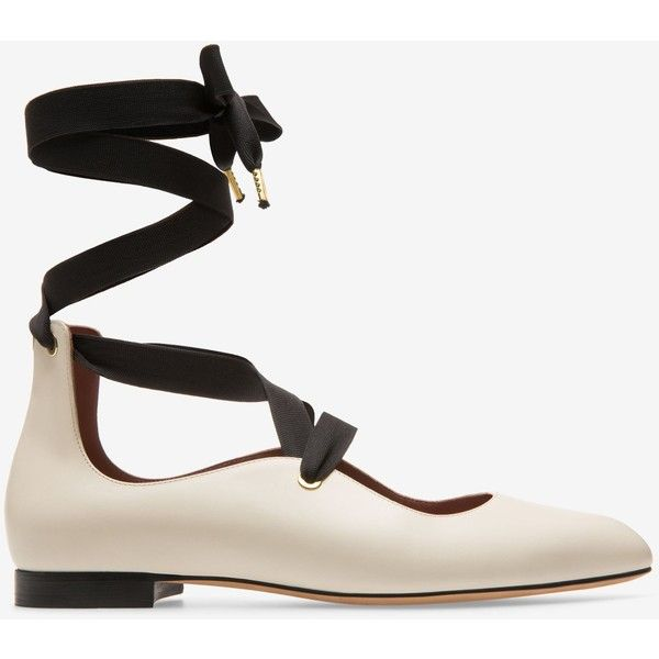 Bally LAVIN Women's plain calf leather lace-up ballet flats in bone ($525) ❤ liked on Polyvore featuring shoes, flats, pointed flat shoes, leather flats, flat shoes, ribbon ballet flats and leather lace up flats