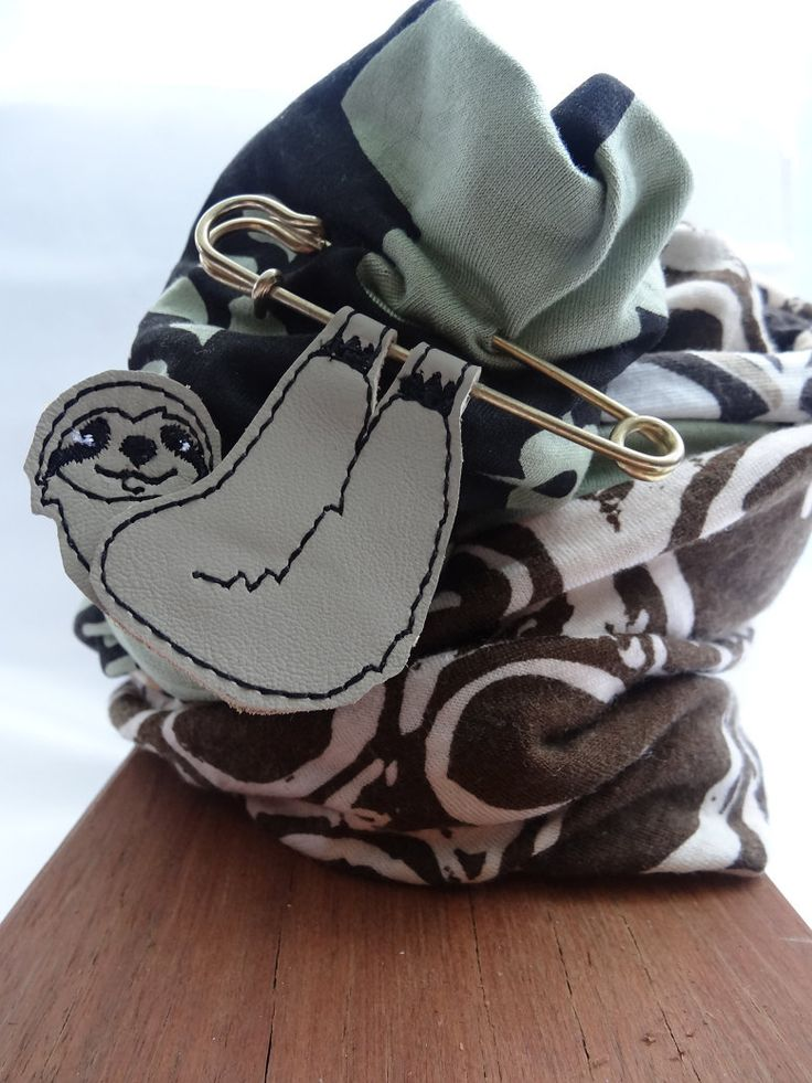 Sloth scarf pin brooch leather by thingsofgemstone on Etsy