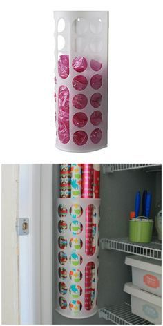 The Variera plastic bag dikeaispenser turns into a wrapping paper holder in this easy IKEA hack.
