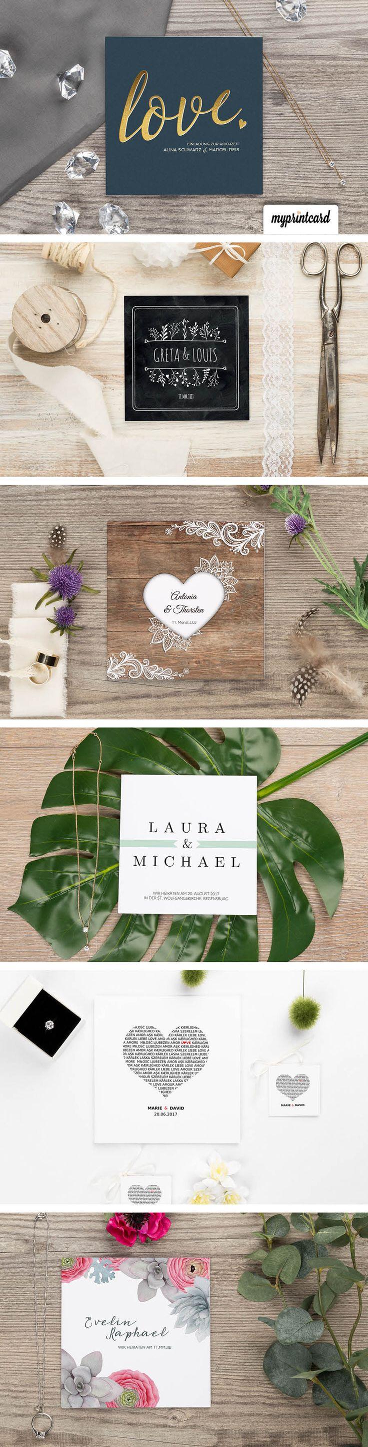 Traumhaft schöne Hochzeitseinladungen von myprintcard. Modern, trendig, romantisch, edel - Finde Dein Design! #hochzeit #einladung #hochzeitseinladung #romantisch #grün #blau #holz #rustikal #myprintcard #modern #vintage #ausgefallen #hochwertig #edel #chalkboard
