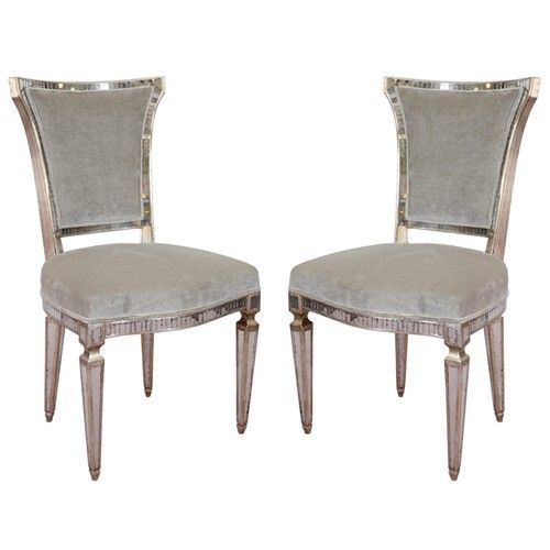 Pair Of Vintage Hollywood Regency Style Mirrored Chairs