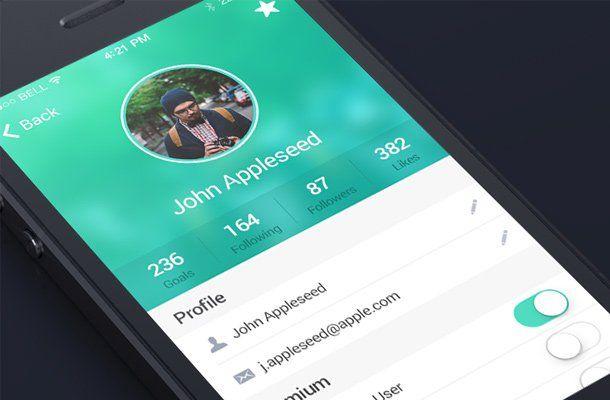 green profile edit screen ui