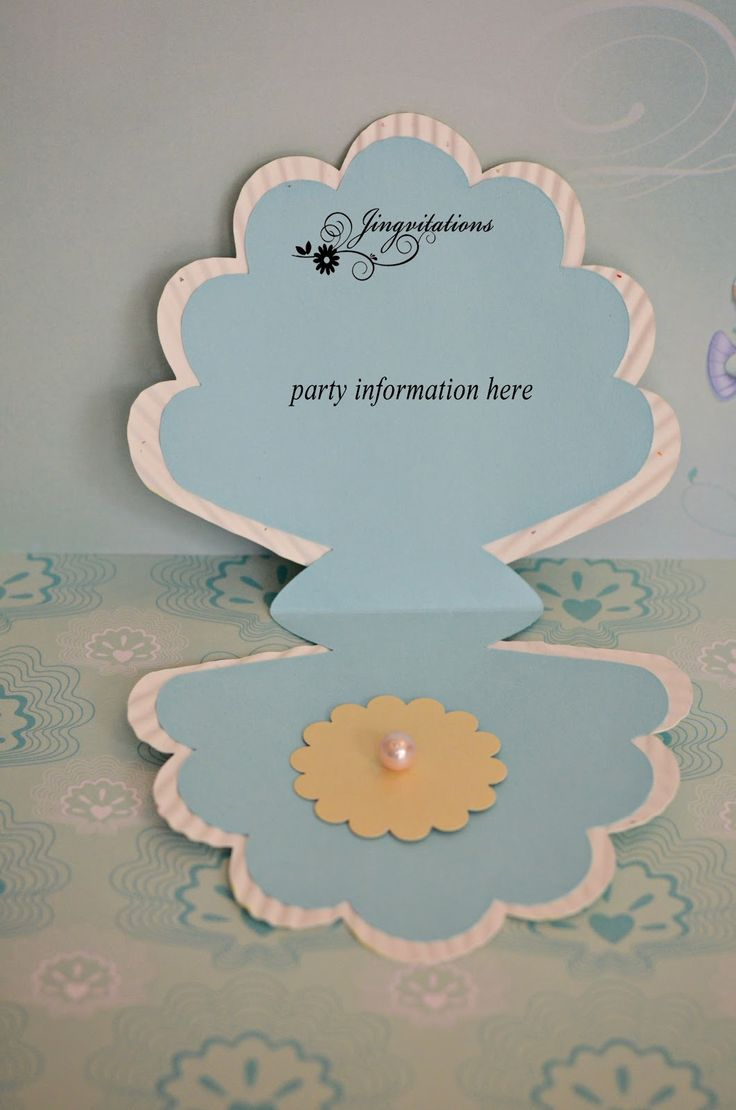 Princess Mermaid Ariel Seashell Birthday Invitations