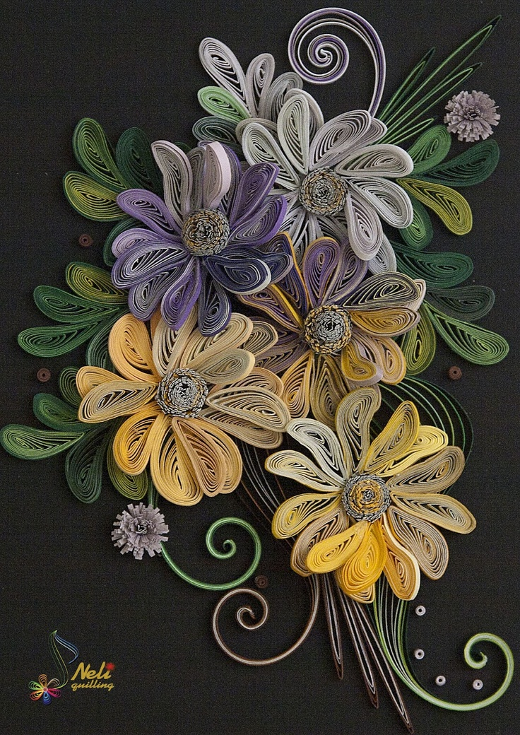 Beautiful arrangement of quilled flowers and leaves - by: neli