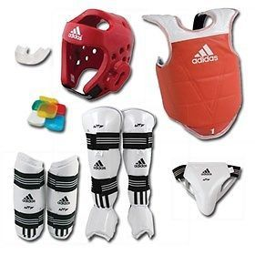 Belts and Sashes 73981: Adidas Complete Taekwondo Sparring Gear Set With Shin Instep - Red - Adult-Small -> BUY IT NOW ONLY: $163.75 on eBay!
