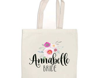 Bridal Party Custom Tote Bags - Personalized Tote Bag - Bridesmaid Gift Bags - Monogram Tote - Bags for Bridal Party