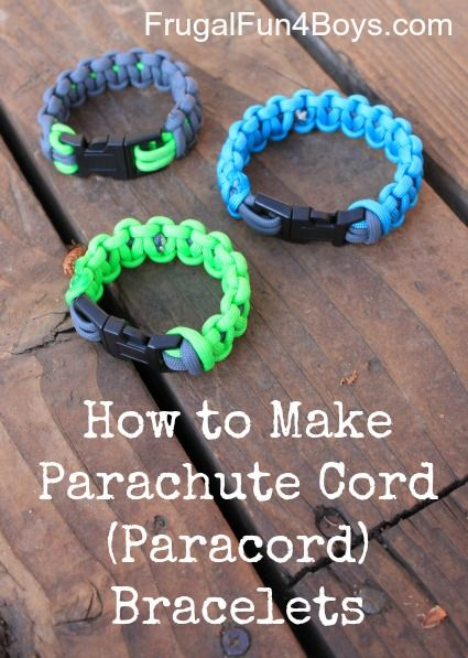 How to Make Parachute Cord (Paracord) Bracelets.  These are super popular right now!  They're easy to make, and my boys were happy that we could make them smaller than the ones in stores so that they would actually fit.